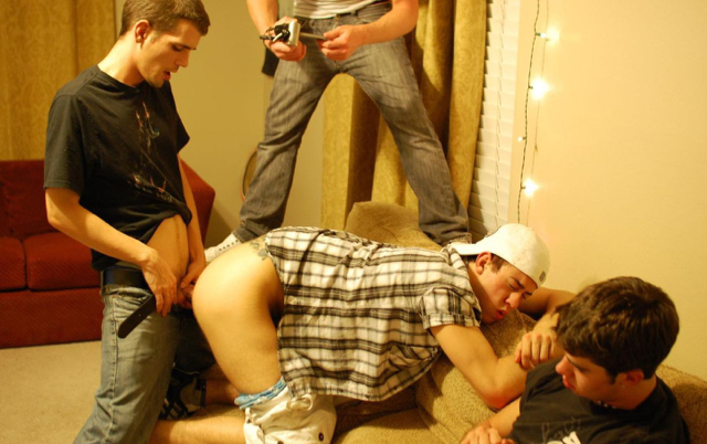 Dude films his frat brother getting his ass fucked bareback