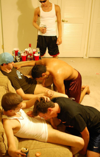 Guy watches as his frat brothers get their dicks sucked