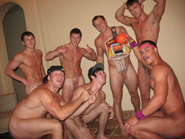 Naked jock boys messing around in the frat house