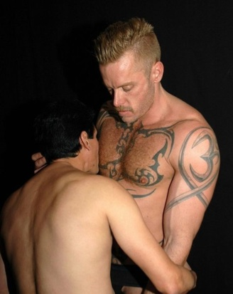 Inked top getting his nipples played with