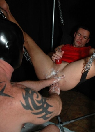 Mano Ryder strokes his cock while getting his ass opened up