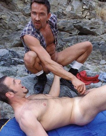 Matt Sizemore and ERic Venture playing naked outside