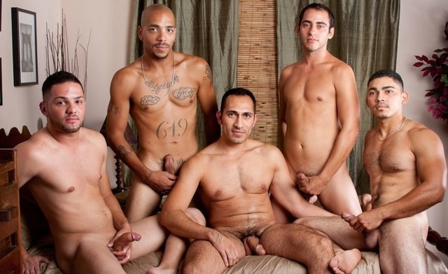 Diego Cruz surrounded by hot tops ready to breed his ass