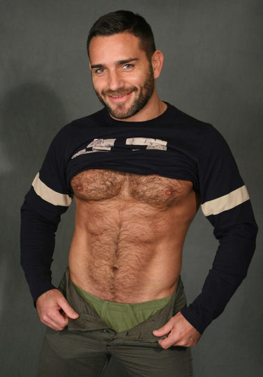 humpy man shows hairy belly and a flash of underwear