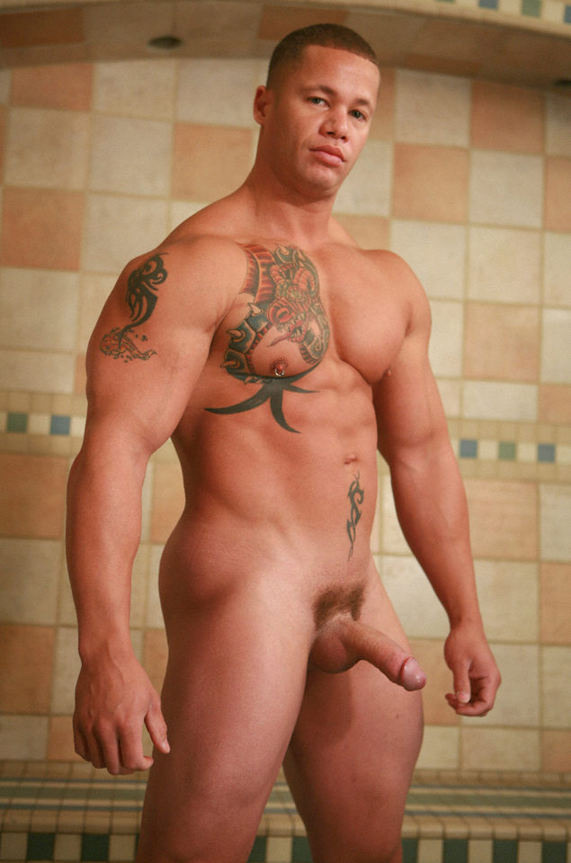 humpy body builder with tattoos shows big, hard cock