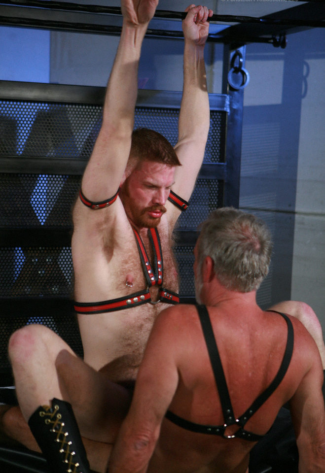 Bearded red cub gets fucked by leather Daddy