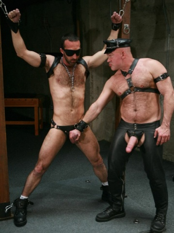 Furry leather Daddy Ray playing with a restrained boy