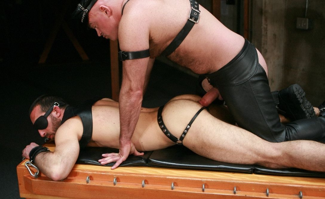 Blindfolded Xavier St. Jude about to take Ray\'s hard cock