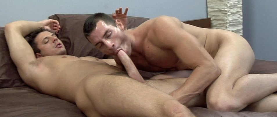 Pat Bateman lays back and gets his big dick sucked by Rusty Stevens