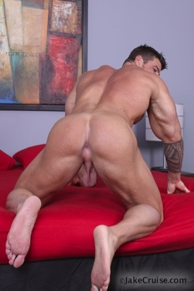 zeb shows off his muscular ass and pink butt hole for the camera.