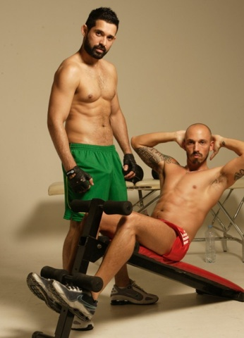 Billy and Valemtin work out shirtless