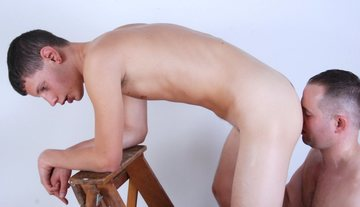 Eddy Bent over a ladder getting his smooth hole eaten by Jasper