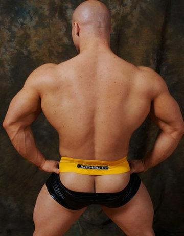 Bodybuilder teasing with his ass crack