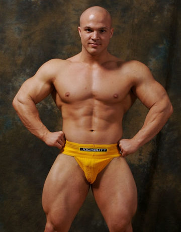 Hot young bodybuilder in a jockstrap