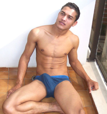Smooth Latin jock sporting a big boner in his underwear
