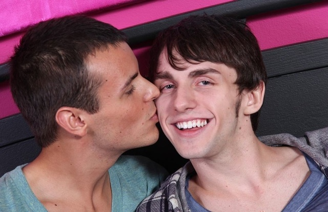Cute twink gets a kiss on the cheek