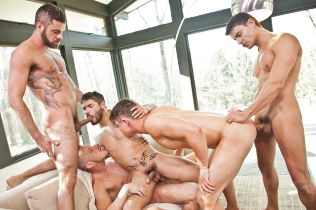 Draven Torres and Jed Athens in the middle of a bareback five-way