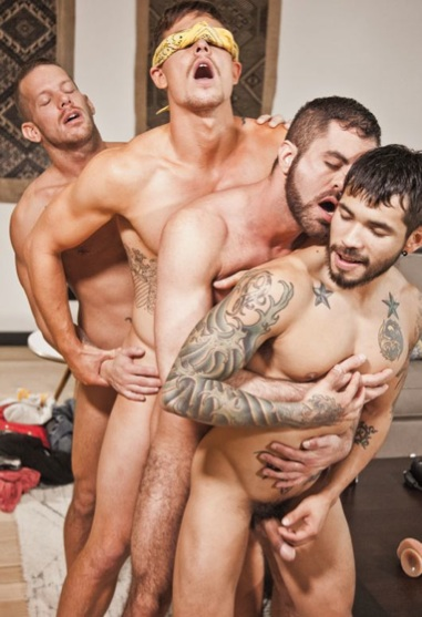 Four barebackers fucking each other