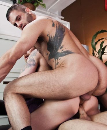Marcus Isaacs on top during a double fuck