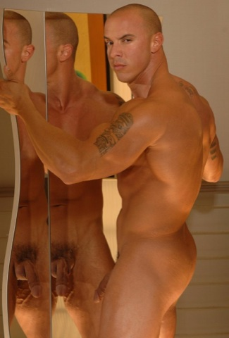 Vin Marco naked and flexing his muscles