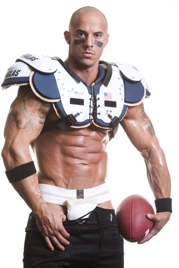 Tough guy Vin Marco in football pads, and a jockstrap