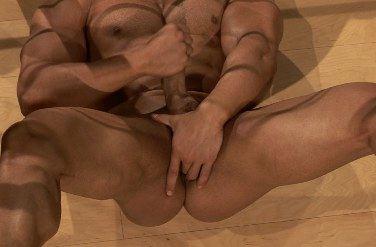 Macho caliente y muscular se masturba mientras se mete dedos en el culo