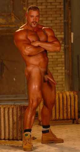 Fantasy top - huge masculine bodybuilder with a big hard dick