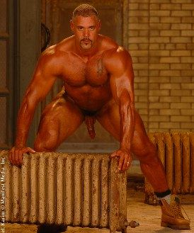 Massive beefy body builder naked