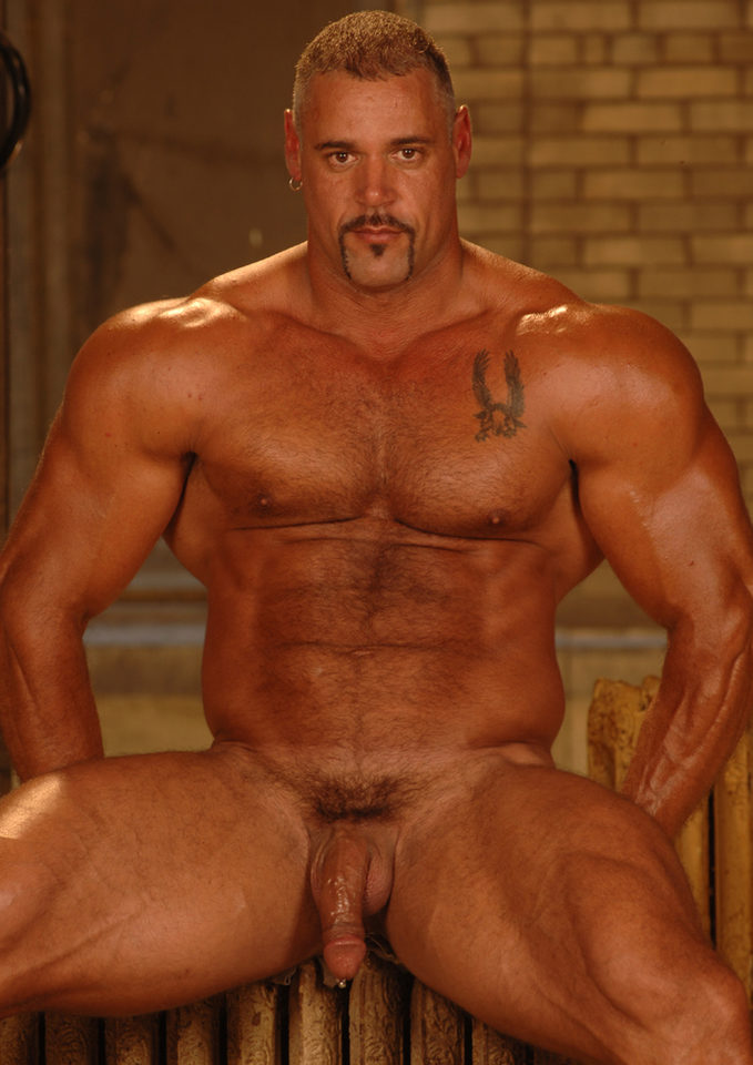 Large hairy muscle men masturbating