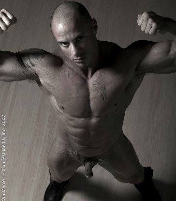 Totally smooth bodied stud shows off his build and nice dick