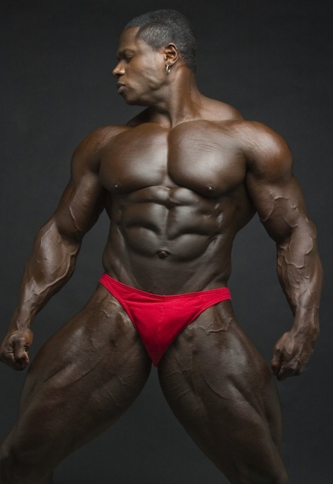 Massive, ripped black bodybuilder