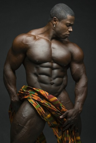 Sean Jones shows off his massive, ripped ebony body