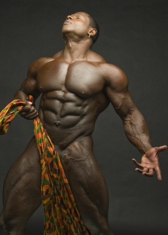 Body builder Sean Jones, naked with just a cloth in front of his dick