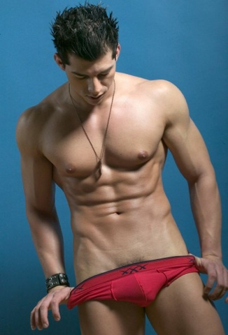 Mario De Leon strips off his red underwear