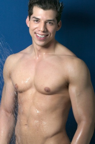 Baby faced Mario De Leon naked and smiling in the shower