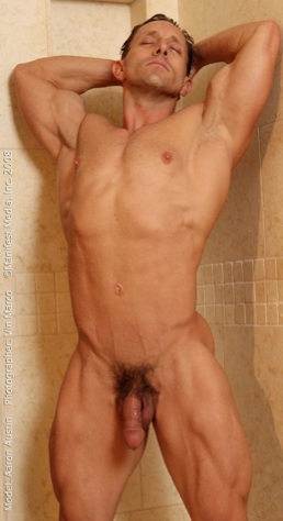 Body Builder Aaron Austin in shower showing off his muscles
