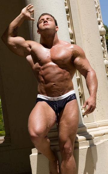 Sexy Muscular A-Bomb oiled up and tanning