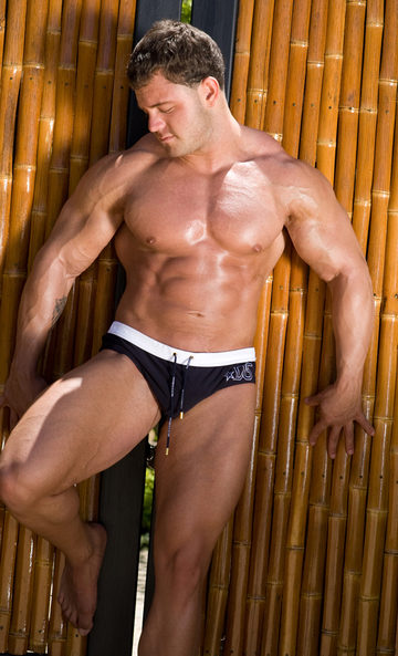 Sexy Muscular stud A-Bomb has muscles everywhere