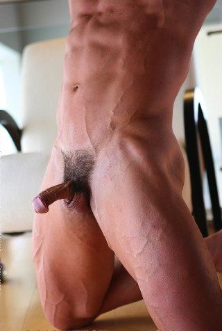 Smooth abs and hard cock of bodybuilder