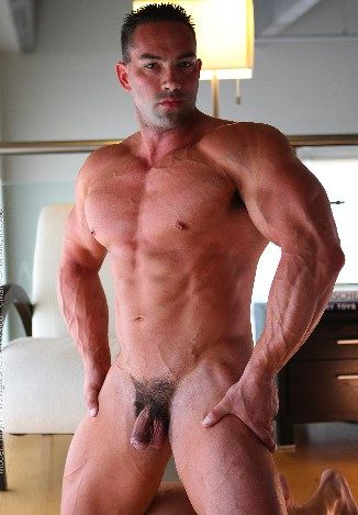 Ripped muscle man with huge chest