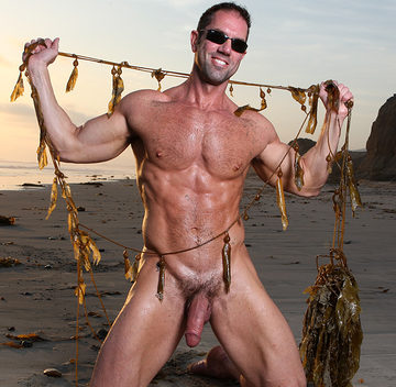 Hard bodies muscle bear on beach