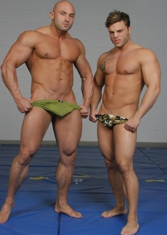Sean and Jason pulling down their trunks