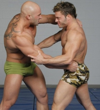Hot beefy muscle boys wrestle in trunks