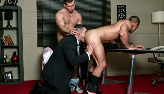 Rick Bauer forces Rob Nelson's tongue deeper into Christian's smooth muscle ass