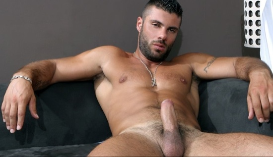 Italian hottie Alex Marte shows off his fat uncut dick