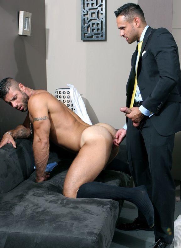 Handsome gay hunks having office sex