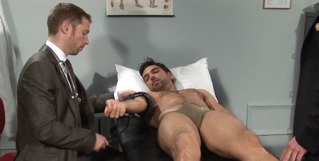 Billy Berlin taking vitals on Lucky Daniels