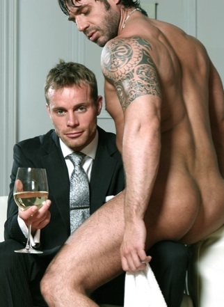 Suited Neil Stevens and naked hustler Axel Brooks