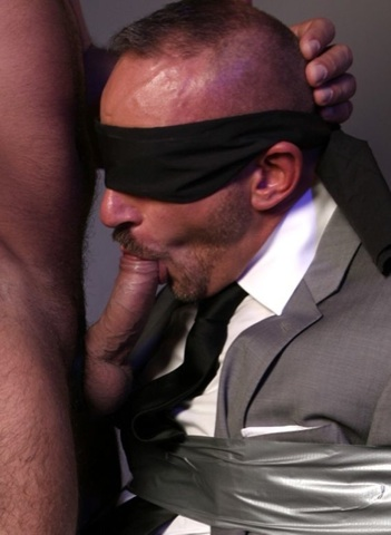 Blindfolded Samuel Colt sucking cock