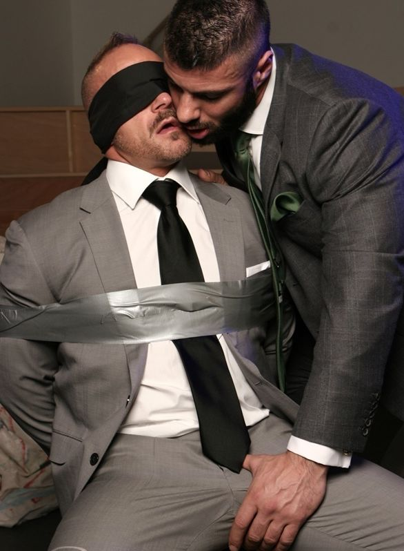 Alex gropes blindfolded and restrained Samuel\'s fat cock